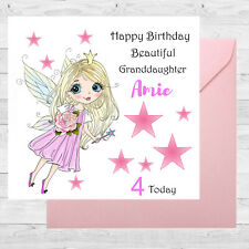 Personalised Birthday Card Fairy Rose Size 6x6/1st 3rd 5th Granddaughter/ sister