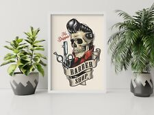 BARBER SHOP - 1 X POSTER A4, A3, A2 SIZES AVAILABLE P18 - NO FRAME SKULL