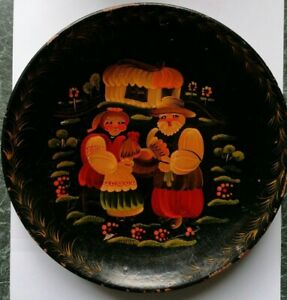 Vintage Beautiful Hand Painted Wooden Plate Folk Art Barge Art Ukraine Russian