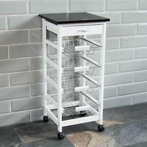 4 Tier Kitchen Trolley White Storage Portable Cart Basket Storage Home Rack