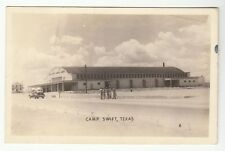 Real Photo Postcard Camp Swift, Texas 5 Soldiers & Car in Front of Sports Arena