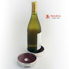 Wine Bottle Coasters Pair Sterling Silver 1950