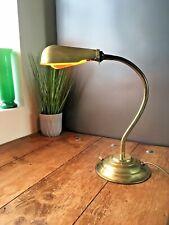 FRENCH MID CENTURY BRASS ADJUSTABLE GOOSENECK BANKERS SHELL DESK LAMP VINTAGE
