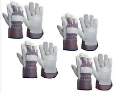 Lot Of 4 Pair Hyper Tough Multipurpose Cowhide Leather Safety Cuff Work Gloves