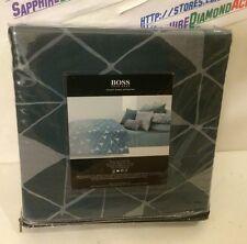 Hugo Boss King Duvet Set (Duvet & 2 Shams) Teal Prism Geometric Rn82817 New!