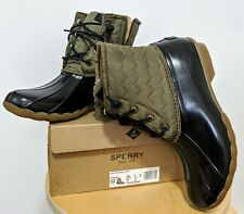 New Sperry Saltwater Chevron Quilted Nylon Olive, Size US.9