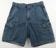 Wrangler Mens Medium Wash Denim Casual Cargo Jean Shorts Size 34