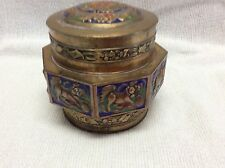 ANTIQUE ASIAN CLOISONNE BRASS FOO DOG DESIGN COVERED BOX