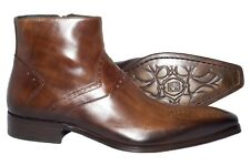 Jo Ghost 1081 Italian mens brown leather ankle boots with design