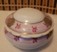 Vintage Nippon Imperial Handpainted Porcelain Trinket Box, Pink, White And Gold