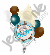 7 pc Baby Boy Argyle Balloon Bouquet Decoration Baby Shower Welcome Little Man