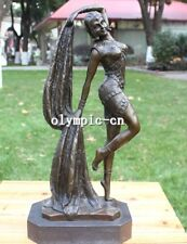 16 inch Bronze art sculpture Indian Girl women lady dance statue marble base
