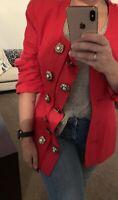 LISA HO Vintage Insanely Gorgeous Red Linen Detailed Button Blazer Jacket 12