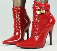 RED PVC Ankle High LOCKING Sissy Maid Shoes, BALLET BOOTS, SEXY SHOE, 12CM HEALS