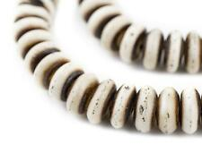 Grey Bone Mala Disk Beads 14mm Nepal Large Hole 29 Inch Strand