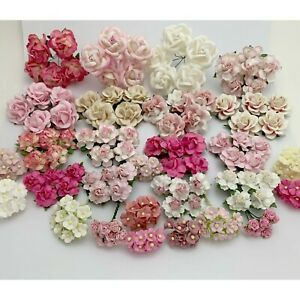 200 Assortment Pink Mixed Paper Flower Wedding bouquet DIY Scrapbook TH/8MixA-B2