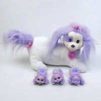 Puppy Surprise White And Purple Mommy With Three Puppies Babies Plush Dog