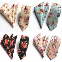 Men's Business Floral Necktie Pocket Square Wedding Party Tie Handkerchief Set
