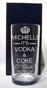 PERSONALISED ENGRAVED HIBALL/TUMBLER GLASS IT'S...O'CLOCK MIXER  BIRTHDAY GIFT