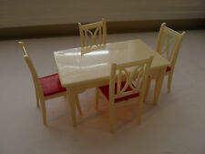 Vintage Ideal Plastic Dollhouse Furniture - Red White Table And 4 Chairs