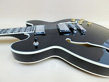 Haze ES-335 Style Semi-Hollow Electric Guitar SEG-272BK - All-Black+Free Gig Bag