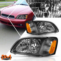 For 00-04 Subaru Legacy L Replacement Headlight/Lamps Black Housing Amber Side