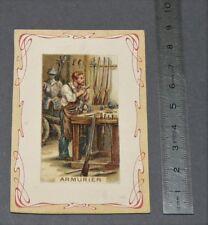 CHROMO ART NOUVEAU 1895-1905 BON-POINT ECOLE LES METIERS ARMURIER