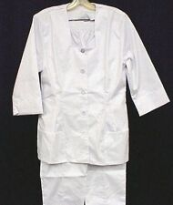 White Nursing Pant Suit Set Uniform Square Neck 14 USA Premier Uniforms New