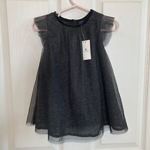 Gap BabyGap Girl's NWT Black Glitter Dress With Diaper Cover Size 12-18 Months