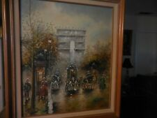 Oil on Canvas Painting of Paris City Scene of Horse & Buggy Rides by J. Gaston