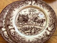 2 Royal Stafford Brown Coaching Stoke 15 Thanksgiving Fall Harvest Dinner Plates