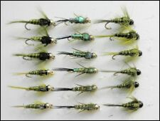 Gold Head Trout Flies, 18 Pack Goldhead Olive Nymphs, 3 Varieties, Mixed 10/12