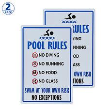 2-Pack Personalized Vintage Distressed Look Pool Rules Metal Room Sign