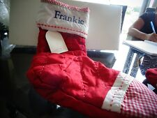 Pottery Barn Kids quilted stocking  Christmas  monogram Frankie New