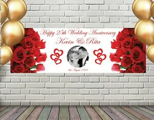 WEDDING ANNIVERSARY BANNER POSTER LARGE ADD PHOTOS ANY TEXT ANY PERSONALISATION