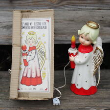 "Vintage Christmas Ceramic Girl Angel Japan Lighted Figurine 12"" H with Box HTF"