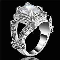 Size 7 White Sapphire Wedding Band Ring White Rhodium Plated Jewelry ring