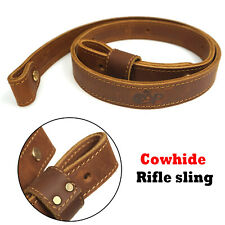 """Cow Hide Leather Rifle Gun Sling_Crazy Horse/Brown_Amish Handmade_1"""" Wide"""