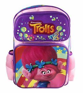 "Dreamwork Trolls Poppy and Her friends 16"" Light Pink Backpack School Book Bag"