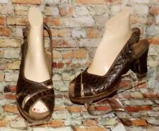 Vtg 30s Ww2 40s Brown Faux Alligator Peep Toe Cuban Heel Platform Diva Shoes 9 M
