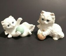 Vintage Set of 2 Homco White Persian Cats Kittens With Yarn Ball Figurines #1410