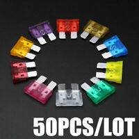 50pcs 3A~40A 32V Mixed Medium Zn alloy Car Blade Assorted Fuse Kits