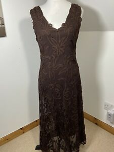 Phase Eight Sheath Dress MIDI Brown Cornelli Lace Size 16 Stretchy Low Back
