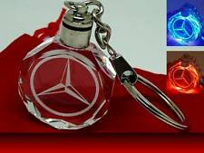 Crystal LED Light Mercedes Benz Car Logo Keyring key chain Fob with Gift Pouch