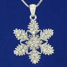 Snowflake Necklace Made With Swarovski Crystal Winter Christmas Pendant Jewelry