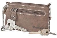Woodland® Schlüsseltasche mit 2 Schlüsselketten in Dunkelbraun aus Büffelleder