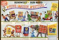 1955 Sunsweet Prunes Sun-Maid Raisins Festival 2pg PRINT AD Circus Folks Animals