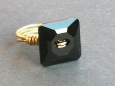 Gold Plated Black Crystal Wire Wrap Ring made with Swarovski Crystal Elements