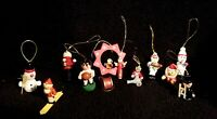 Fabulous Lot Of Twelve Vintage Assorted Wooden Christmas Ornaments - Taiwan