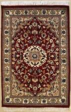Rugstc 2.5x4 Senneh Pak Persian Red  Rug, Hand-Knotted,Floral with Silk/Wool
